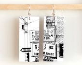 Hang Ah, Paper & Wood Earrings, 1x2.25""