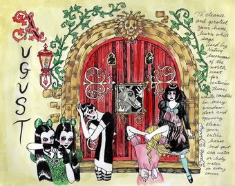 COLOR Dame Darcy, Meat Cake , original art, hand drawn, comix, comics, manga, print, zine, 2017 witchcraft calendar, page art, August
