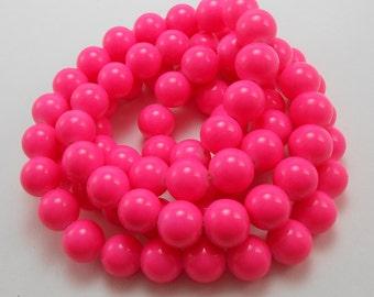 50 Neon Pink Glass Beads 10mm round (H2128)