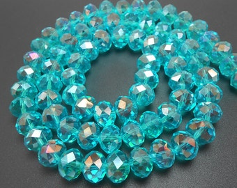 20 Aqua AB Faceted Glass Rondelle Beads 11x9mm (H2144)