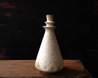 Ship Now- small stoneware flanged vase in crater textured lava glaze by sara paloma mid century modern