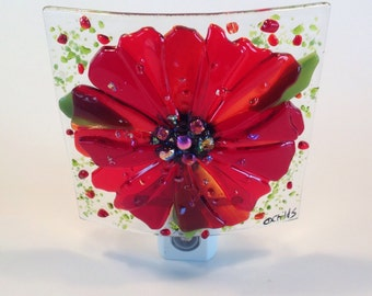 Fused Glass Night Light (Red Flower)