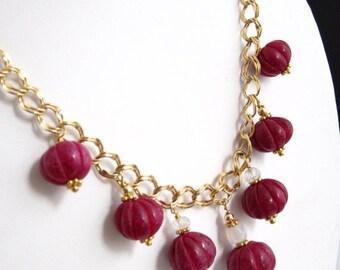SALE Ruby Lantern Gold-filled Neckalce