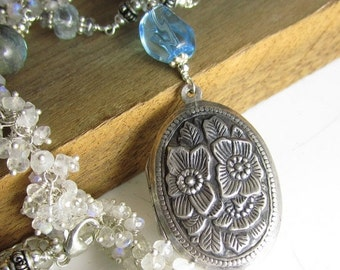 VDAY SALE Clear Rain to Water the Flowers - Sterling Vintage Locket, Swiss Blue Topaz, and hand-linked chain with moonstone