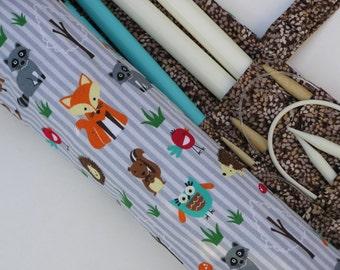 knitting needle case - knitting needle organizer - circular knitting needle case - fun woodland animals - 36 pockets