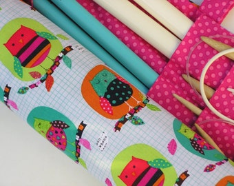 knitting needle case - knitting needle organizer - circular knitting needle case - colorful owls - 36 pockets