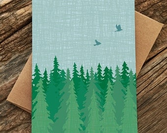 stationery set / blank greeting card set / evergreen forest