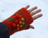 Felted fingerless mittens orange wool hand knit with needle felted flowers size small-medium