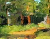 Original Landscape Oil Painting, Oregon Trail, Small 4x6 Canvas, Evergreen Pine Trees, Miniature, Green Woodland Scene, Rural Nature Art