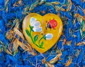 Sweetheart Silk Basket - Unique Handmade Decorative Blue Yellow Tapestry Box and Lid - Garden Inspired Heart Flower Love Gift for Her STB041