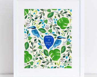 Forever + Ever – A4 Fine Art Print - Sacred Kingfishers