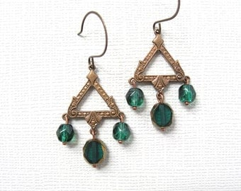 Oz earrings - antiqued brass finished metal and emerald green faceted glass bead earrings