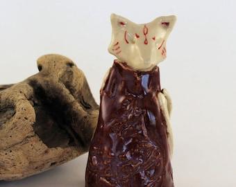 Kitsune totem figurine -  fox in purpley brown coat
