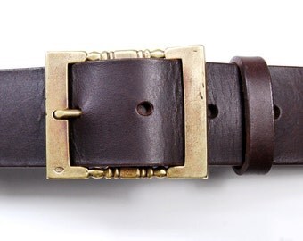 Leather belt with brass buckle- BROWN