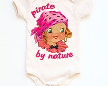 Pirate Girl Bodysuit, Pirate by Nature Organic Baby One Piece, Girls Shirt, baby layette, infant outfit, 3m, 6m, 12m, 18m