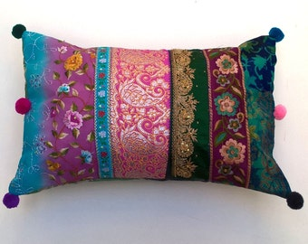 Bohemian Cushion / Pillow Cover - Pink, Purple, Green, Turquoise