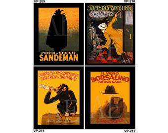 VP209-212 Vintage Poster Art - One 8x10 or Two 5x7s - Sandeman Porto & Sherry, Victoria Arduino Espresso, Anisetta Evangelisti Monkey Hats