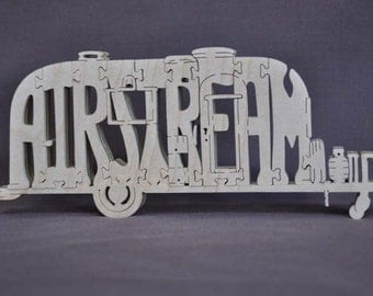 Vintage Airstream Happy Camper Trailer Camping  Puzzle Wooden Toy Hand Cut with Scroll Saw