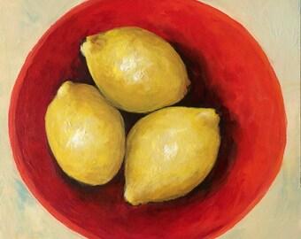 "Three Lemons 6"" x 6"" Original Lemon Still Life Painting by Torrie Smiley"