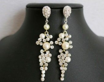 Bridal Chandelier Earrings Drop Rhinestone Chandelier Earrings. Ivory Pearl Long Earrings Wedding Crystal Earrings Bridal Jewelry