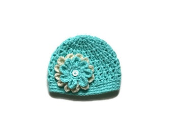 Crocheted Hat with Flower // Ready to ship // Size 1-2 years