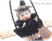 Vintage Inspired Halloween Art Doll Ornament Doll Hanging Art Doll Mixed Media China Doll Head Lorelie Kay Original