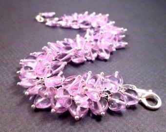 Heart Bracelet, Lavender Cha Cha Style Bracelet, Silver Wire Wrapped Charm Bracelet, FREE Shipping U.S.