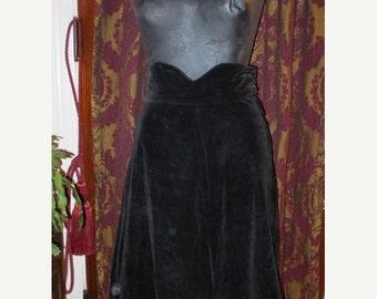 ON SALE Vintage 1950's Black Velvet Swing Skirt Metal Zipper XS