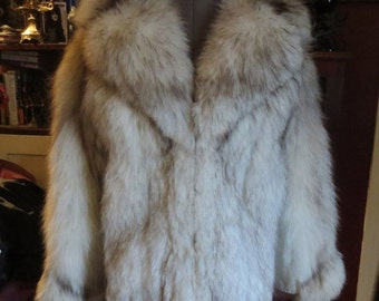 SALE Vintage Ladies White Silver Fox Fur Leather Jacket Coat Small