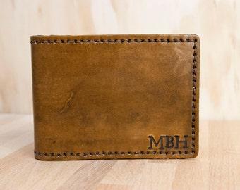 Mens Wallet - Monogram Pattern in Antique Brown - Handmade Leather Bifold Wallet