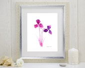 """Watercolor art print of radiant orchid flowers: """"Purple Orchids"""""""