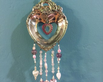 Pink and Lavender hearts Sun catcher wind chime