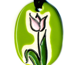 Tulip Ceramic Necklace in Green