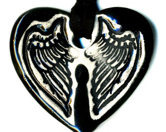 Tiny Cloaked Wing Heart Ceramic Necklace in Black