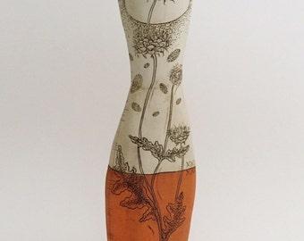 Orange + Pale Blue Sage Flower Pin Vase