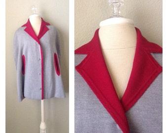 Vintage 60s grey wool knit cape / Mod / Retro / winter / street fashion / twiggy / red and grey / rockabilly / pin up