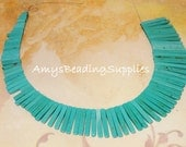 Howlite Turquoise Graduated Slice Spike Beads, about 8-30mm long, 11-1/4 Inch Strand (Irregular beads as pictured)