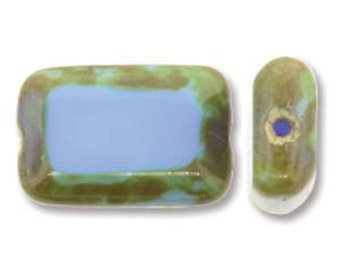 Czech Glass Table Cut Rectangle Light Opaque Blue Picasso, 12x8mm (12 Bead Strand)