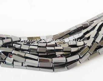 Hematite Tubes 4x8mm, 16-Inch Strand (50 beads)