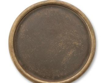 2 Vintaj 32mm Circle Bezel, Natural Brass (P390)