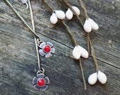 20% OFF TODAY Red Coral Sterling Silver Bar Dangle Earrings