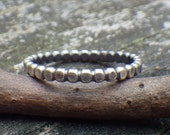 Beaded sterling silver stacking ring
