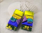 Colorful dichroic glass mod earrings, rainbow colored jewelry, handmade and unique,dichroic dangle earrings,modern jewelry,bohemian earrings