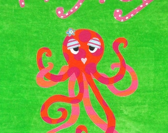 Personalized Large Lime Green Velour Beach Towel with a Fun and Funky Octopus, Pool Towel, Camp Towel, Kids Bath Towel, Baby Towel