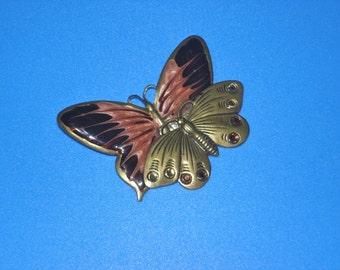 Double Butterfly Brooch Vintage Enameled Brass Pin OOAK Jewelry