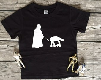 Boys Black Short or Long Sleeve Star Wars Darth Vadar Imperial Walker T Shirt modern graphic trendy