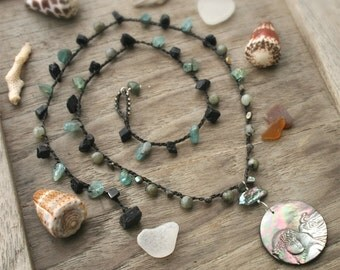 Hawaiian Necklace, Hawaiian Jewelry, Carved Shell Necklace, Long Gemstone Crochet Necklace, Crocheted Necklace, Long Boho Necklace