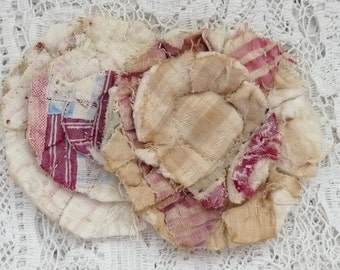 2 upcycled fabric flowers, cottage chic flower, gift top lot flower supplies, scrap flowers shabby upcycled quilt flower scrap appliques #49