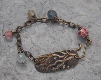 Antique Brass Cherry Blossom Charm bracelet