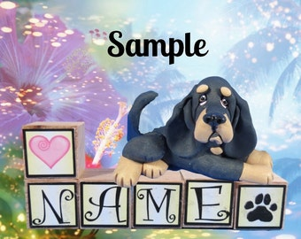 Black and Tan Bloodhound dog PERSONALIZED with your dog's name on blocks by Sally's Bits of Clay